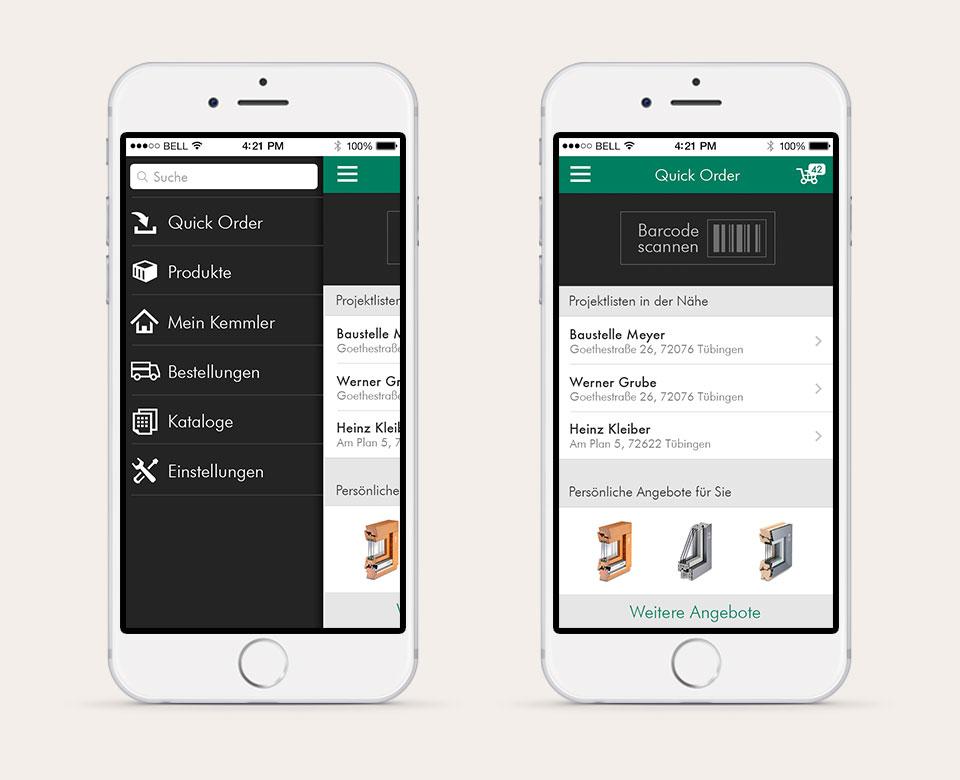 App Baustoff Mobile Quick Ordner Produkte Mein Kemmler Bestellungen Kataloge Einstellungen Barcode scannen
