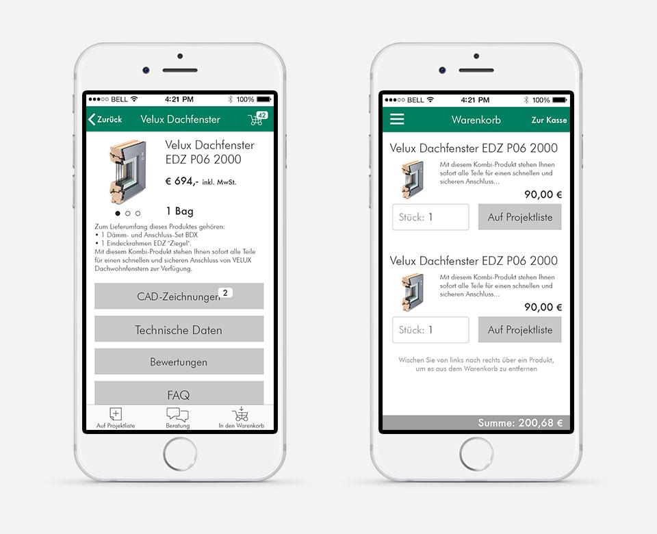 Gafik Mobile Smartphone App Baustoffe Onlineshop Warenkorb Artikel