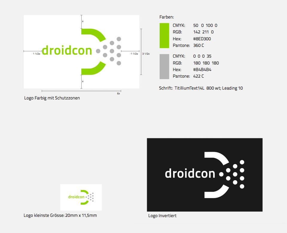 droidcon Logo Farbig mit Schutzzonen Schrift Logo kleinste größe Logo invertiert