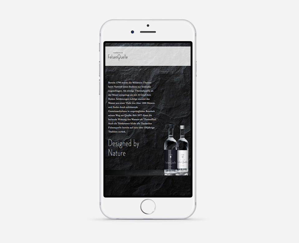 Smartphone Mobile Ansicht FelsenQuelle Webentwicklung Webdesign Text zwei Flaschen