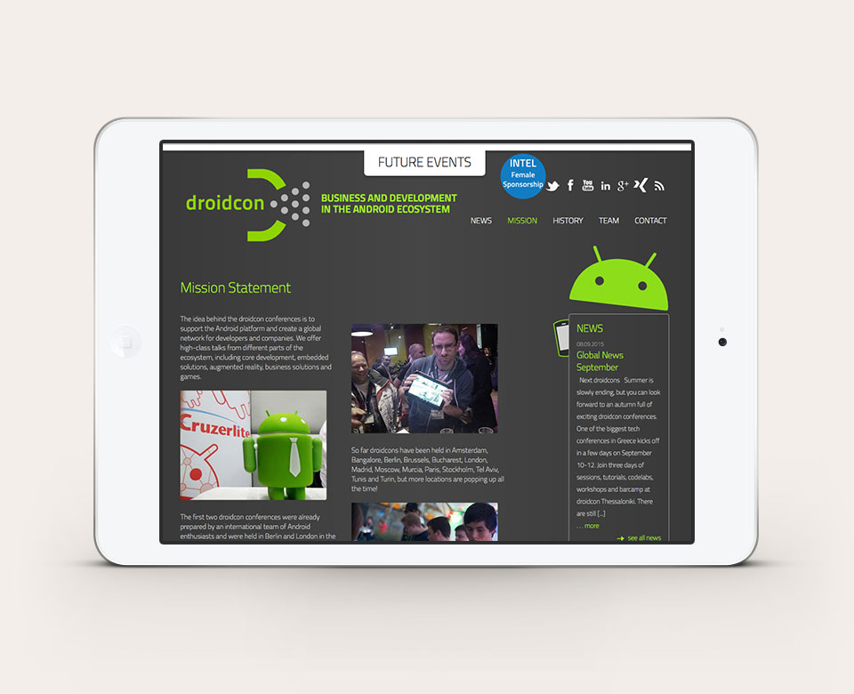 Mobile Ansicht ipad droidcon android webside mission statement fotos news futureevents