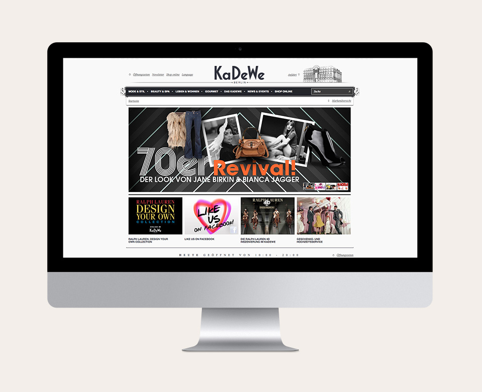 KaDeWe Above the Fold Website Mac