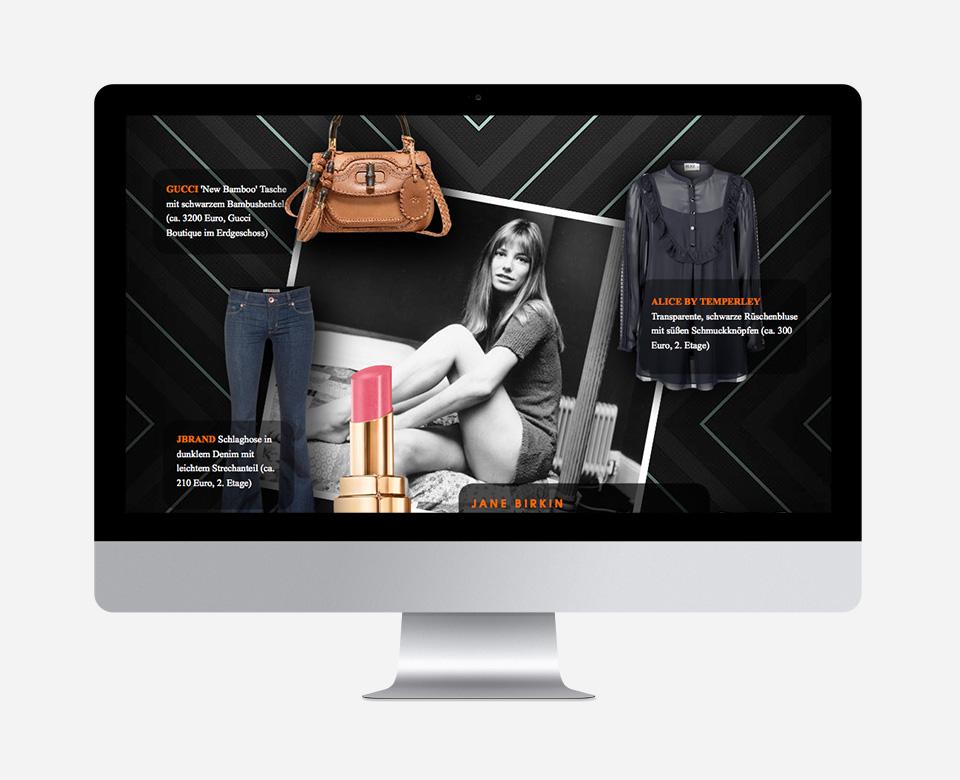 Computerbildschirmansicht JANE BIRKIN - Model posier in der Mitte neben Hose Tasche Bluse Lippenstift
