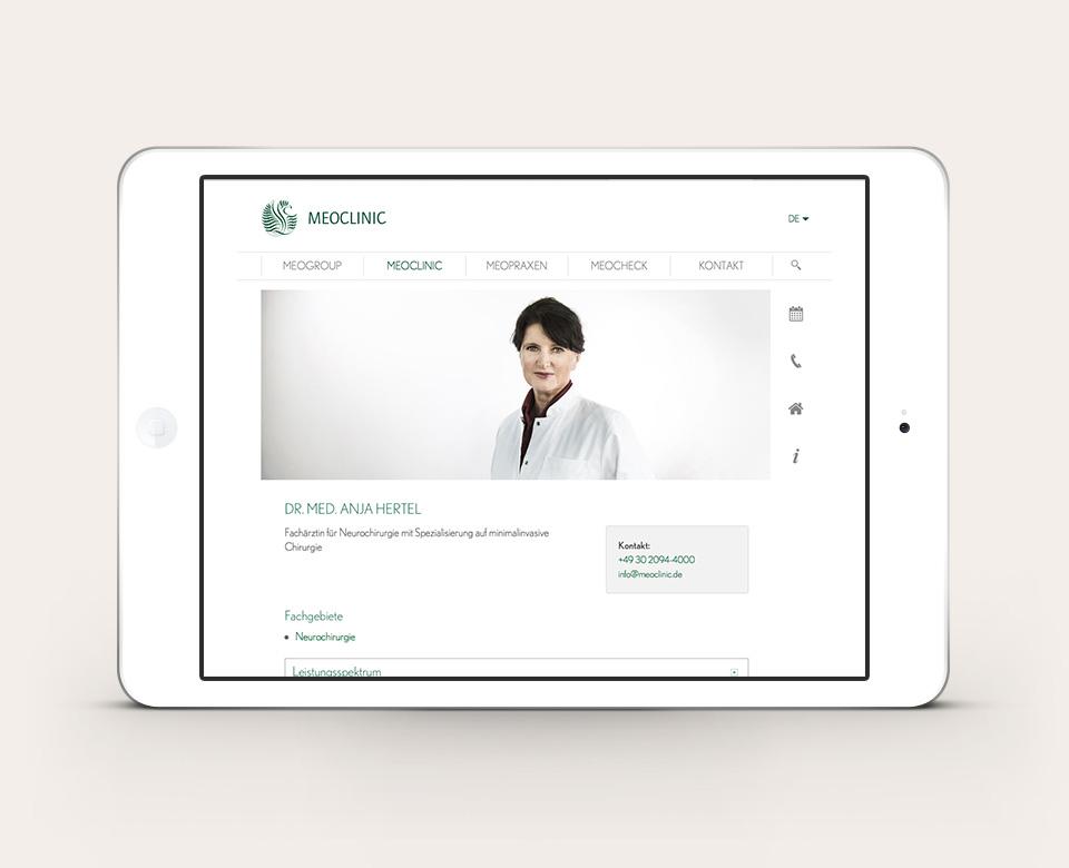 Mobile Ipadansicht Webentwicklung Meoclinic Website