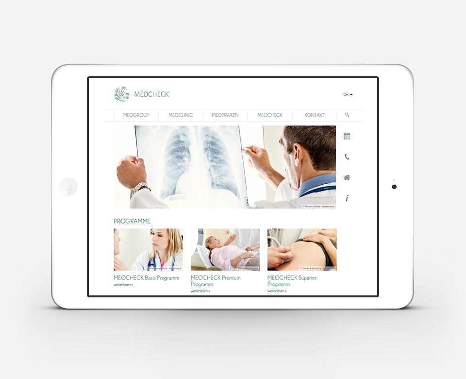 Meoclinic Meocheck iPad Ansicht