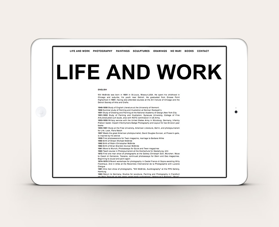 Ipad Ansicht Above the Fold Life and Work Will McBride