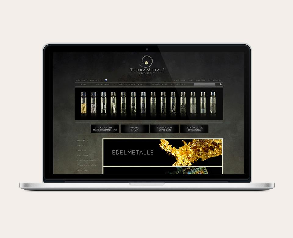 Above the Fold Ansicht einer Website von Terrametal Invest