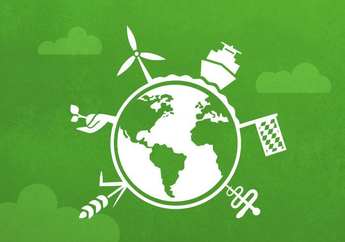 Ume Kekeritz Logo - Grüner Hintergrund mit Weltkugel ind weiß