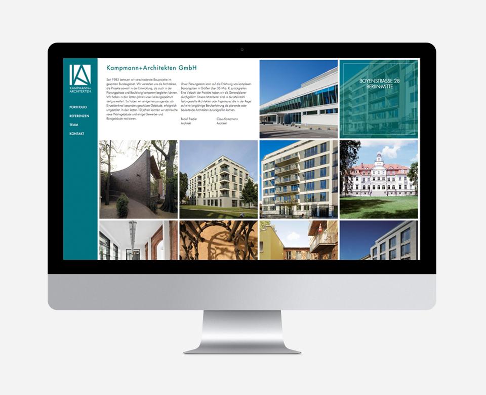 Computerbildschirm Ansicht Website Kampmann Architekten GmbH - 10 Fotos von Gebäuden und Textpassage