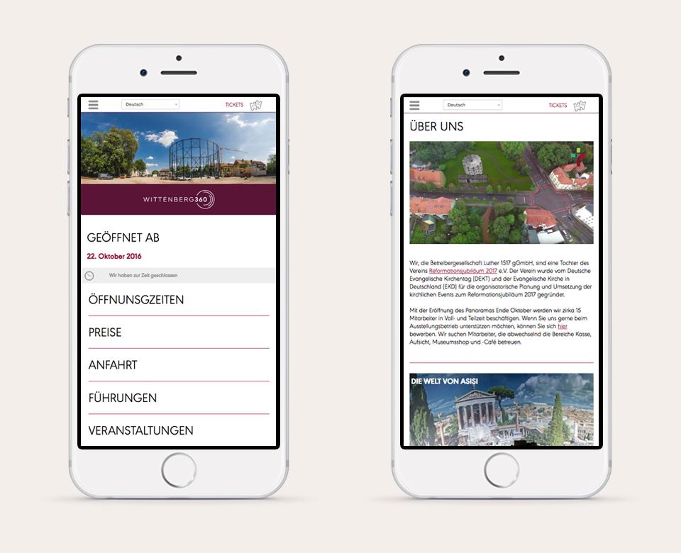 mobile Ansicht derHomepage von asisi wittenberg