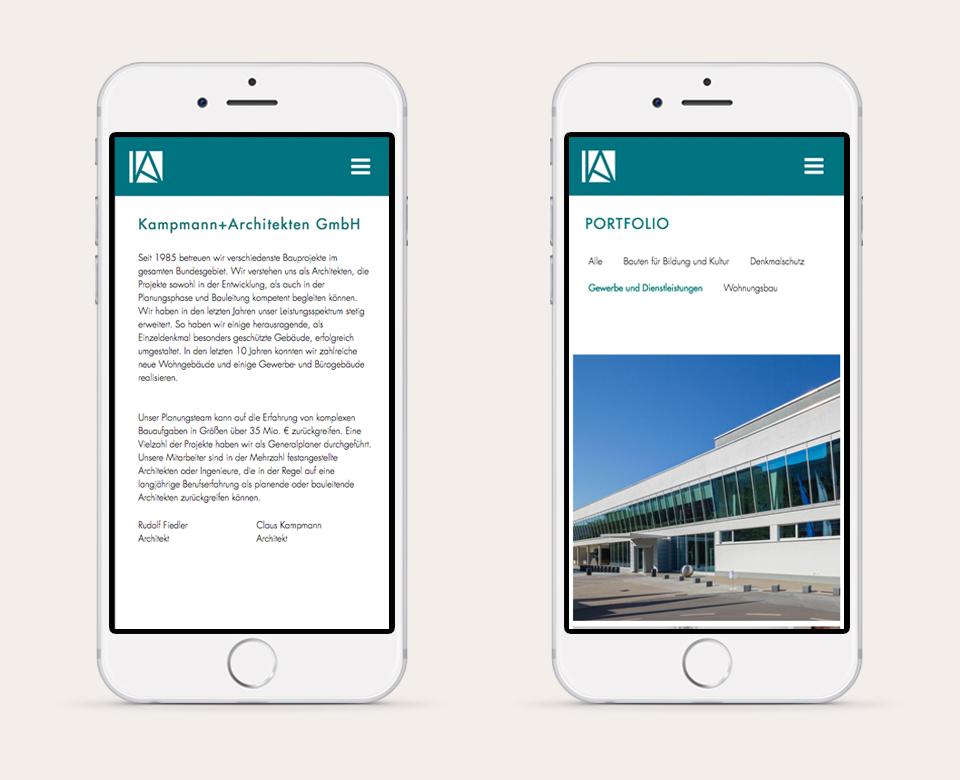 Doppelte Mobile Smartphone Ansicht Kampmann Architekten GmbH Portfolio Ansicht