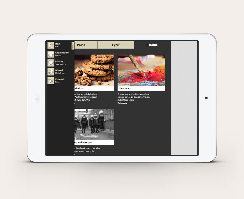 iPadansicht Hanno Rinke Website Rubriken Prosa und Lyrik mit drei Fotos und kurzen Texten