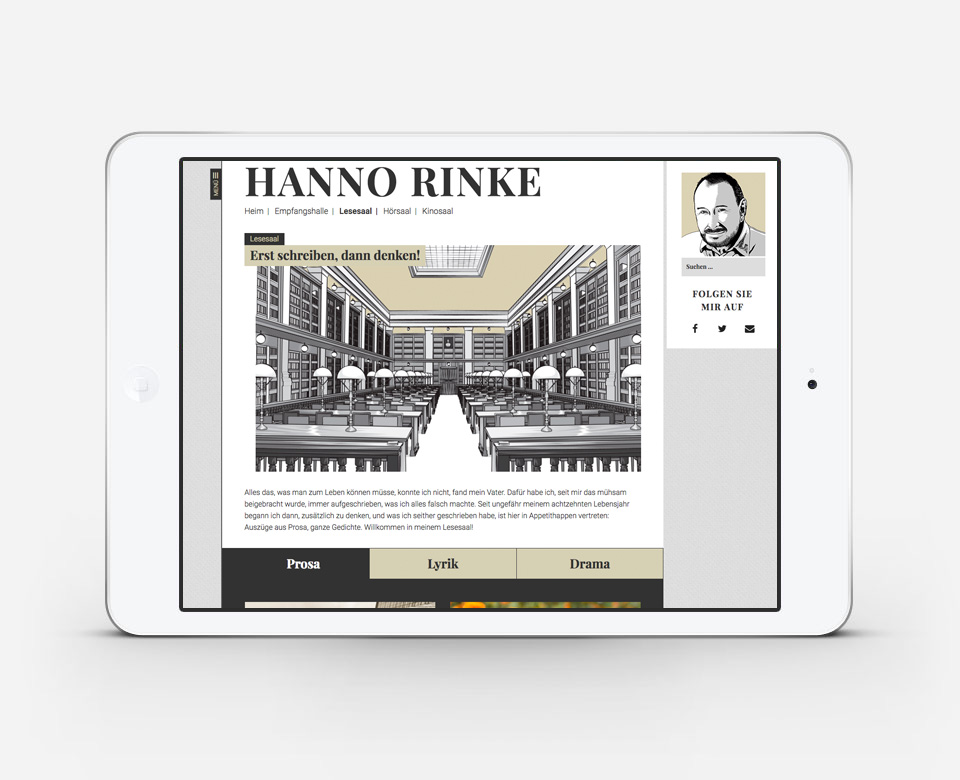 iPadAnsicht Hanno Rinke Website - Rubtik Lesesaal