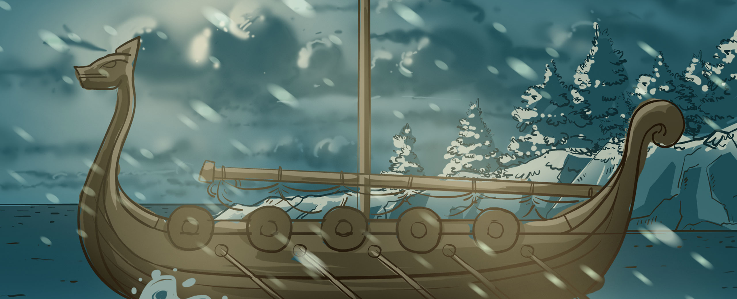Titelbild Groenland Wikinger - altes Piratenschiff auf dem Meer bei Regen