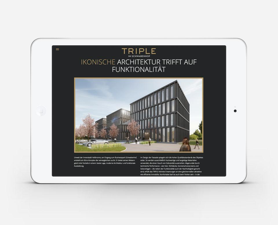 Triple Portfolio iPad Ansicht