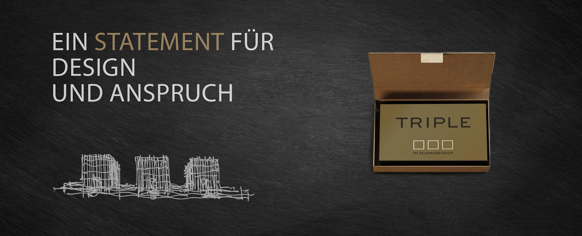 Titelbild TRIPLE im Schwabenhof - Text Ein Statement für Design und Anspruch Design
