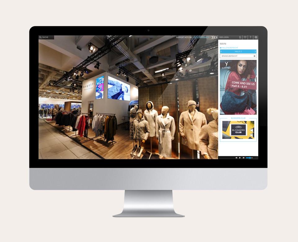 Computerbildschirm Ansicht Bugatti Fashion Stand Messe Kleidung