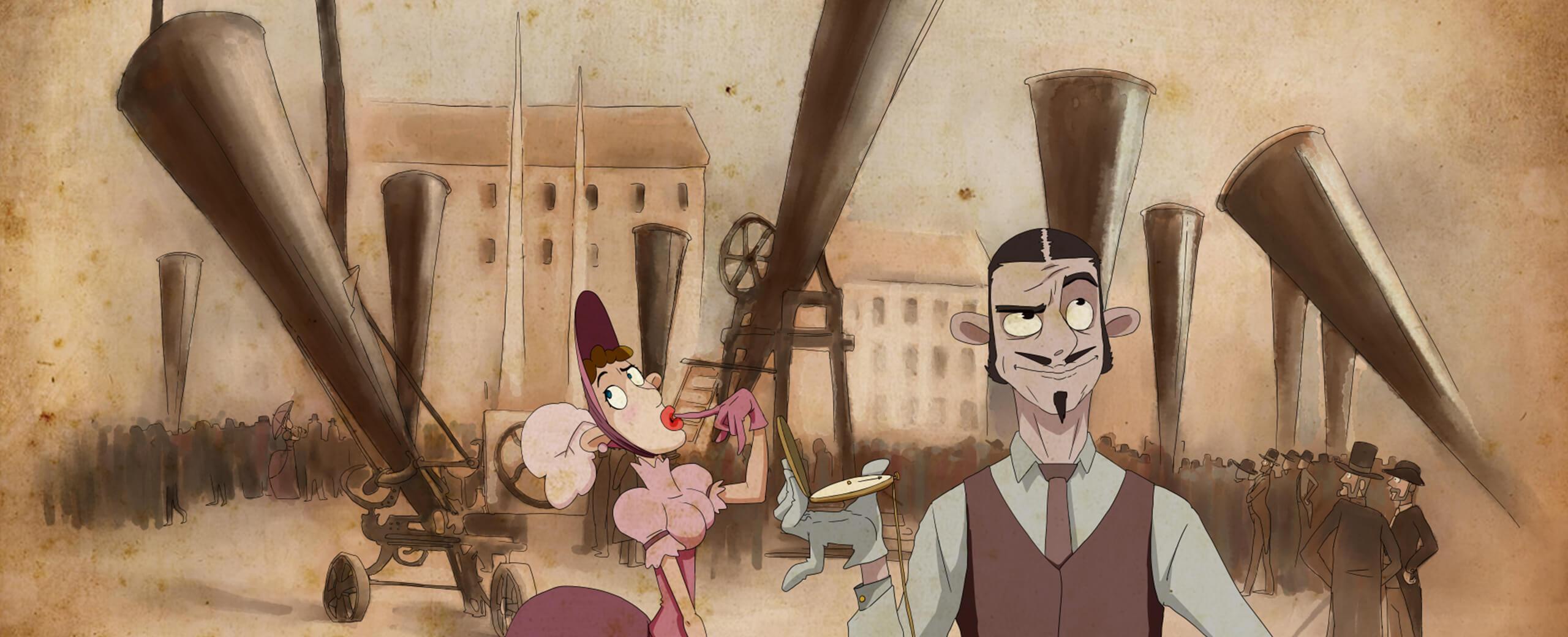 Eine Comic Zeichnung, die amüsant zeigt wie man mit Kanonen in die Luft schiesst und damit versucht das Wetter zu beeinflussen. Zwei Characktere stehen im Vordergrund, der eine verzieht misstraurisch das Gesicht, zieht dabei eine Augenbraue hoch, das andere ist halb geschlossen. Die zweite Figur, eine Dame im rosa Kleid im alten Stil, schaut mit zu einem O gespitzten Lippen erstaunt in den Himmel. Im Hintergrund des Zeichentrick-Bilds ist eine Fabrik zu sehen.