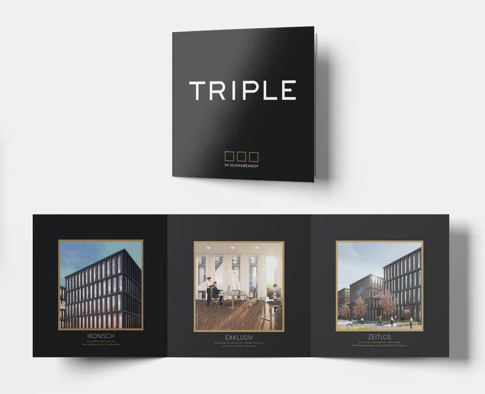 Foto TRIPLE im Schwabenhof Flyer - Ein und ausgeklappt mit drei Fotos Ikonisch Exklusiv und Zeitlos