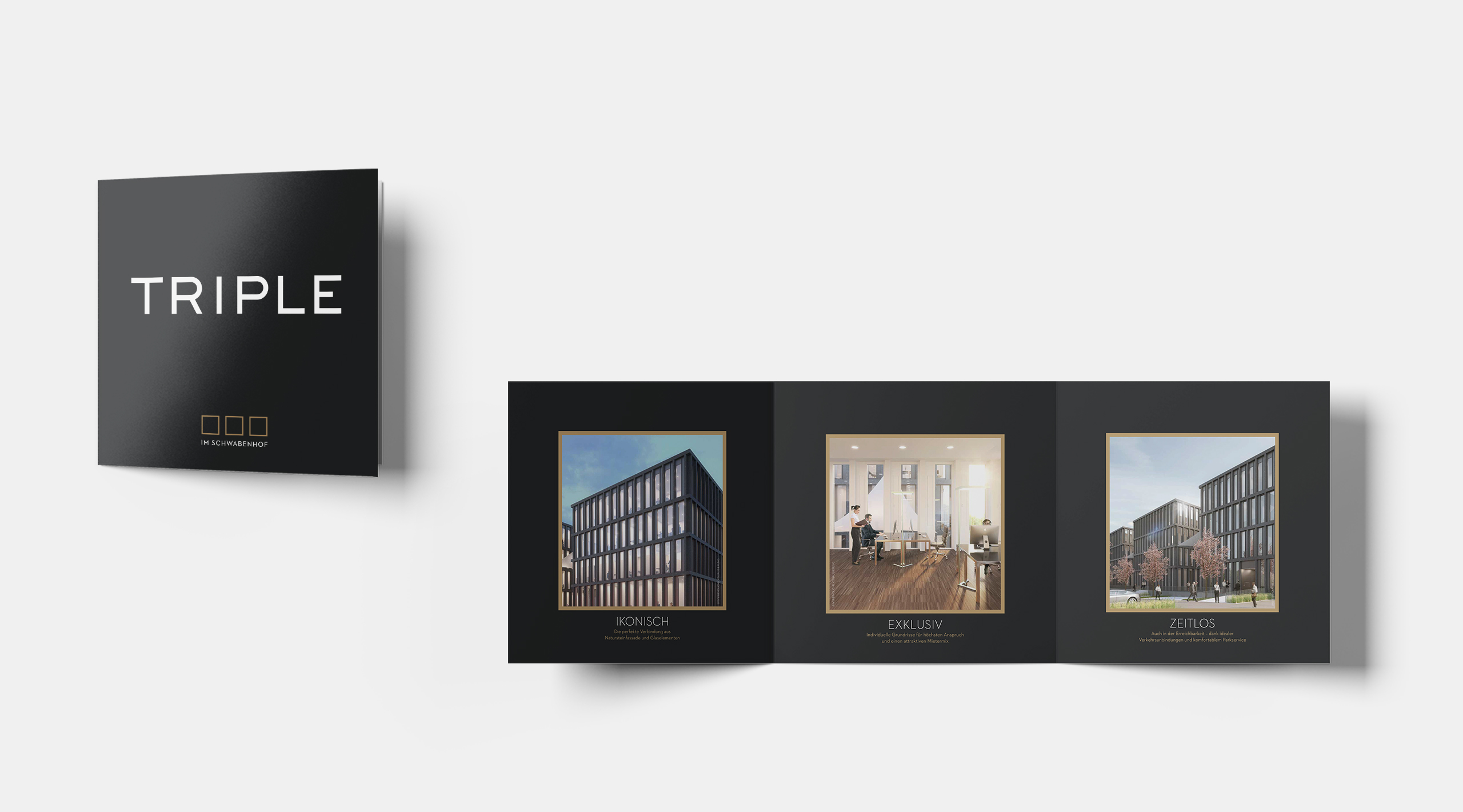 Triple Print Flyer Ikonisch Exklusiv Zeitlos