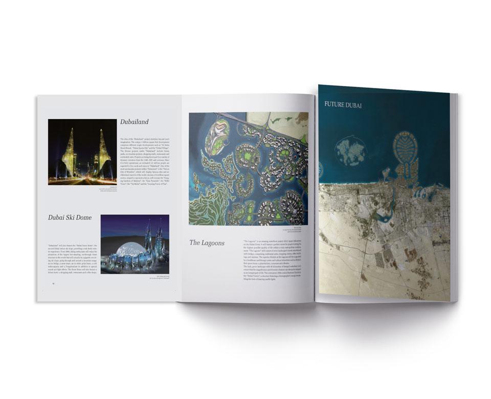 Foto ausklappbares Heft Titel Future Dubai Bilder Text Beschreibungen