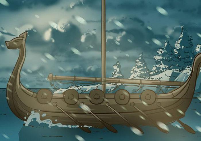 Illustration eines großen Wikinferschiffs auf dem Meer