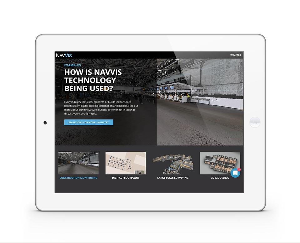 ansicht navvis webseite auf tablet