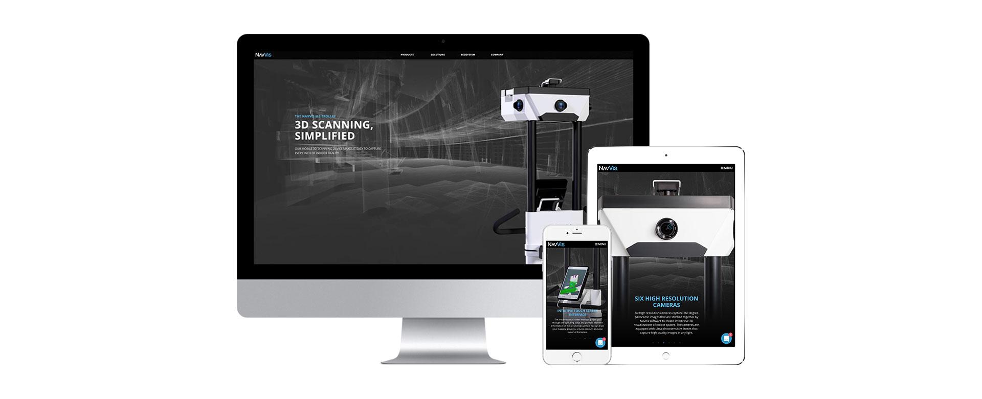 ansicht navvis webseite auf desktop tablet smartphone
