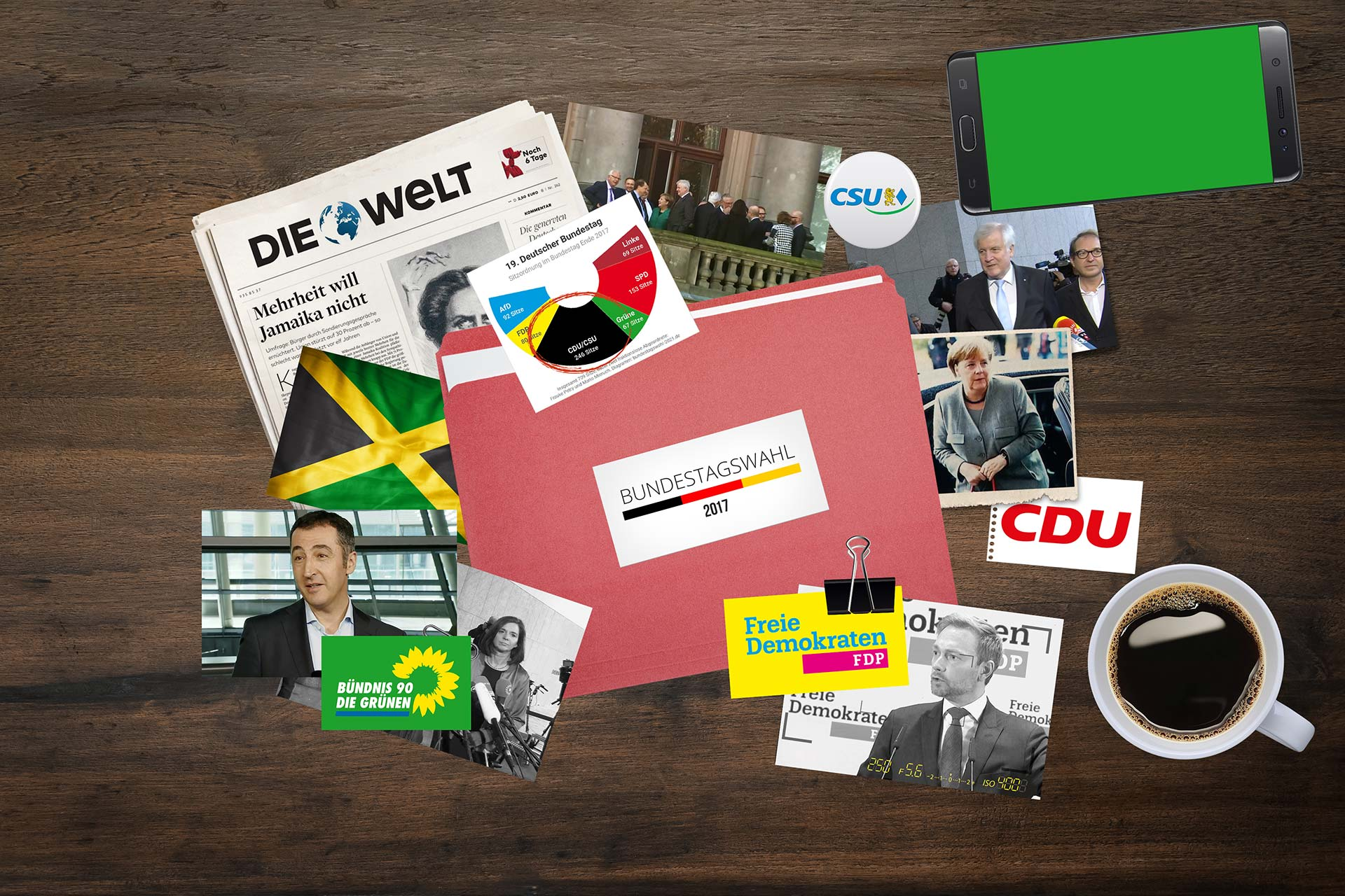 Bildcollagen für Jamaika-Koalition ttt ARD Beitrag