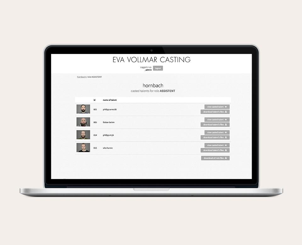 Laptopansicht Eva Vollmar Casting Website - Auflistung der Talents mit Foto und Namen