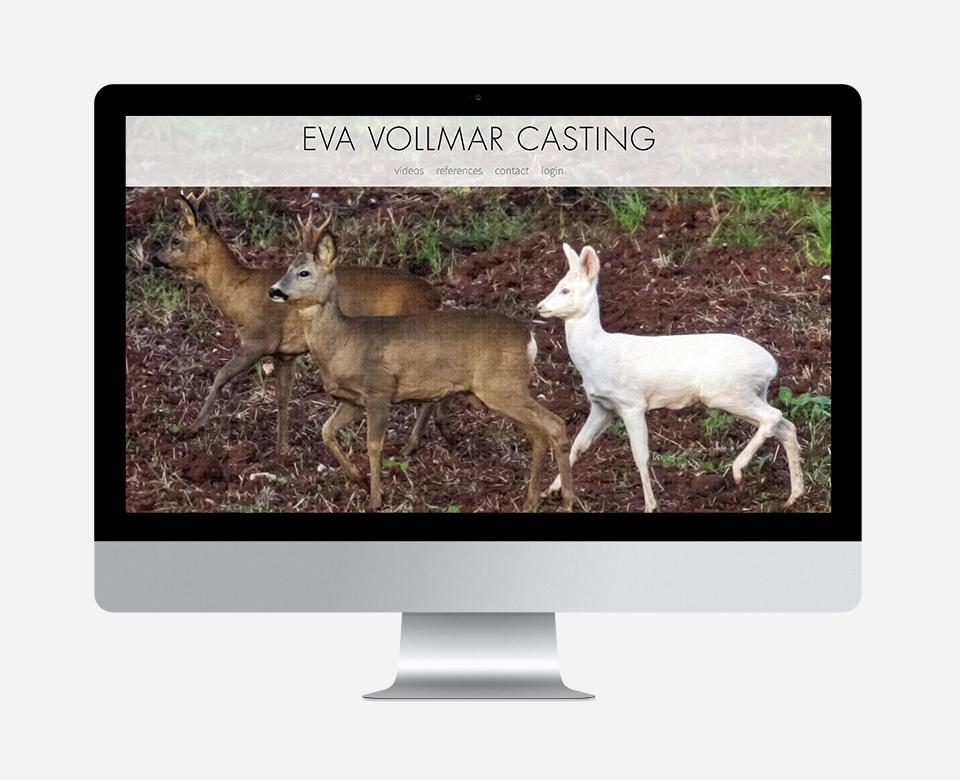 Computerbildschirm Ansicht - Eva Vollmar Casting Website großes Foto im Wald mit drei Rehen