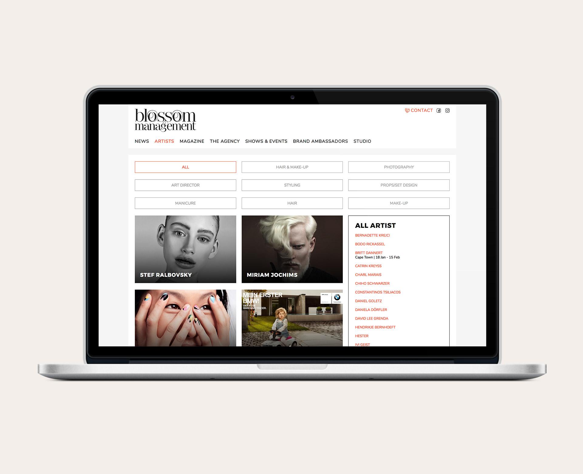 Übersichtsseite der Artists von Blossom Management nach dem Website-Relaunch