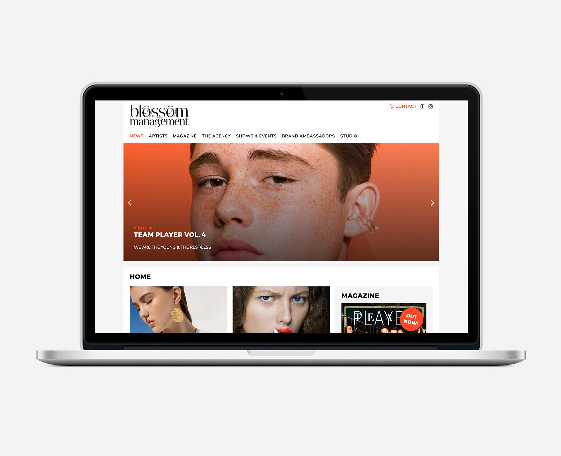 Blossom Management Ansicht der Home Seite Website-Relaunch