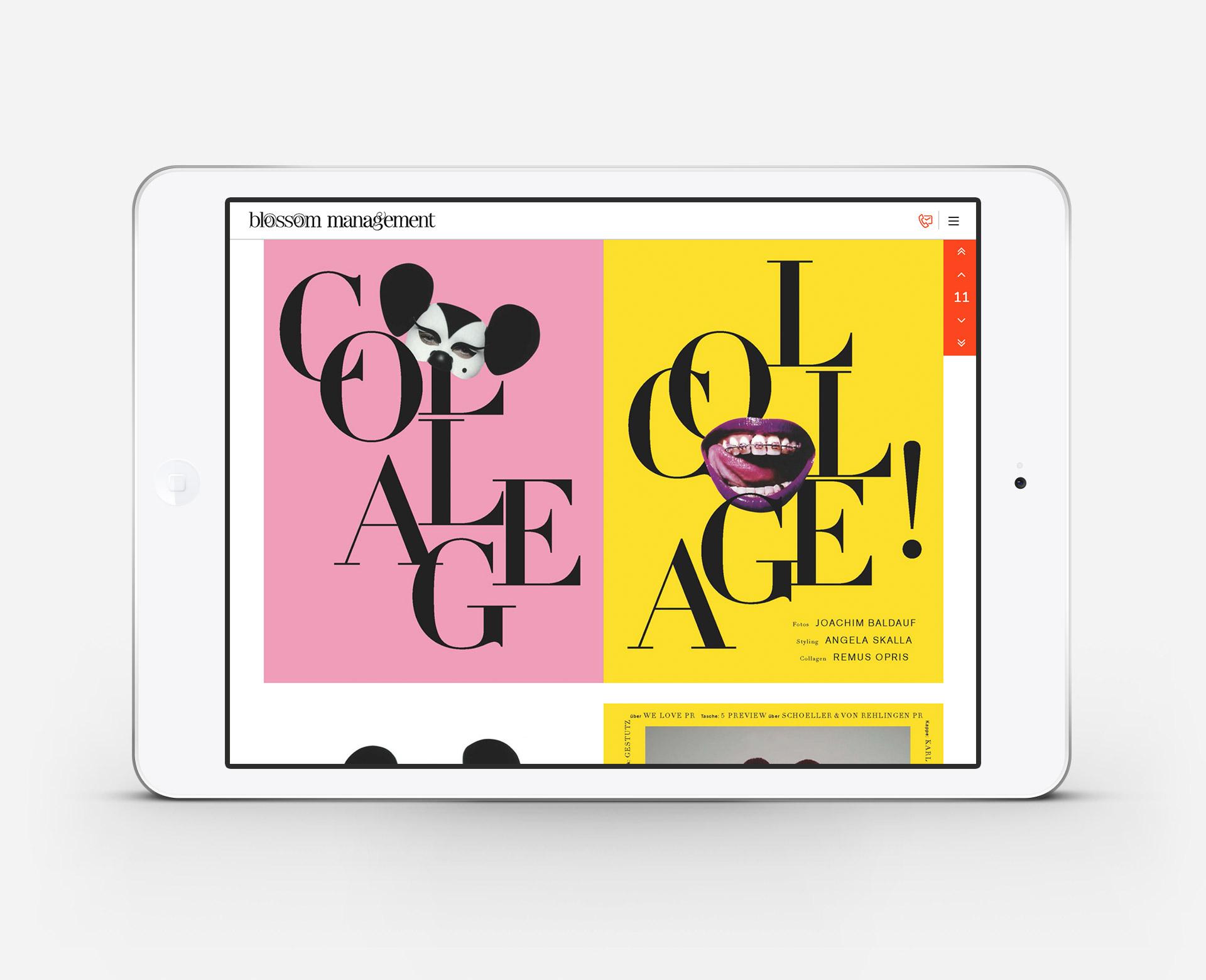 Blossom Management Ansicht der Magazin Seite auf dem iPad nach dem Website-Relaunch