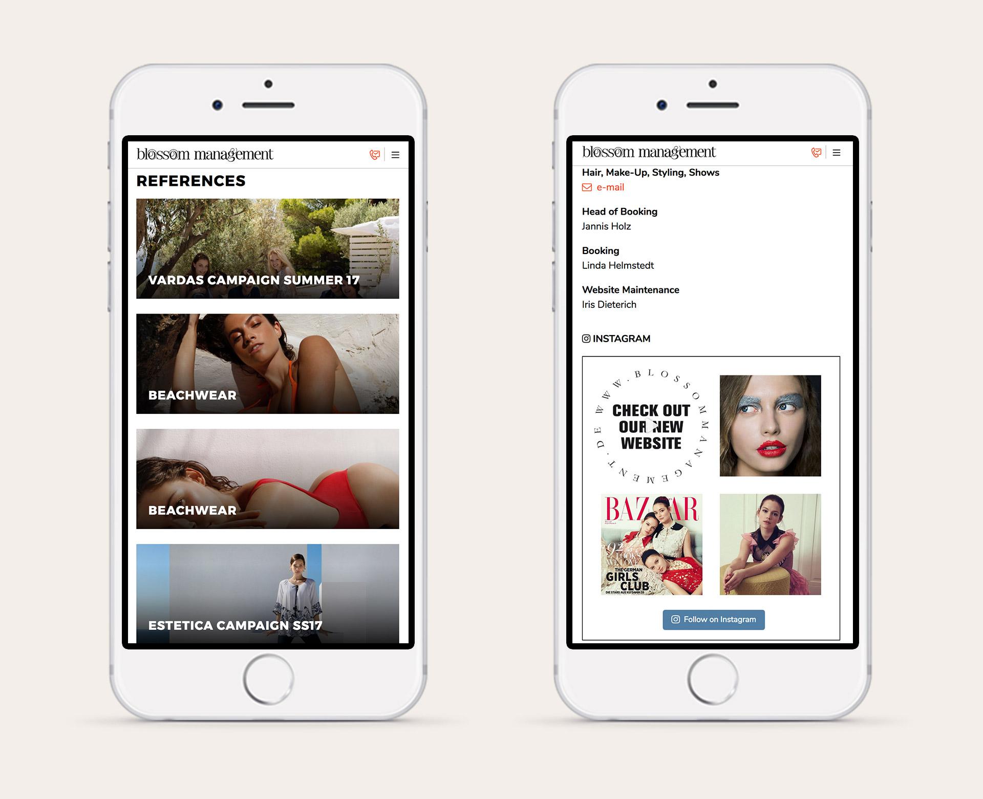 Blossom Management Ansicht der mobilen Seite nach dem Website-Relaunch