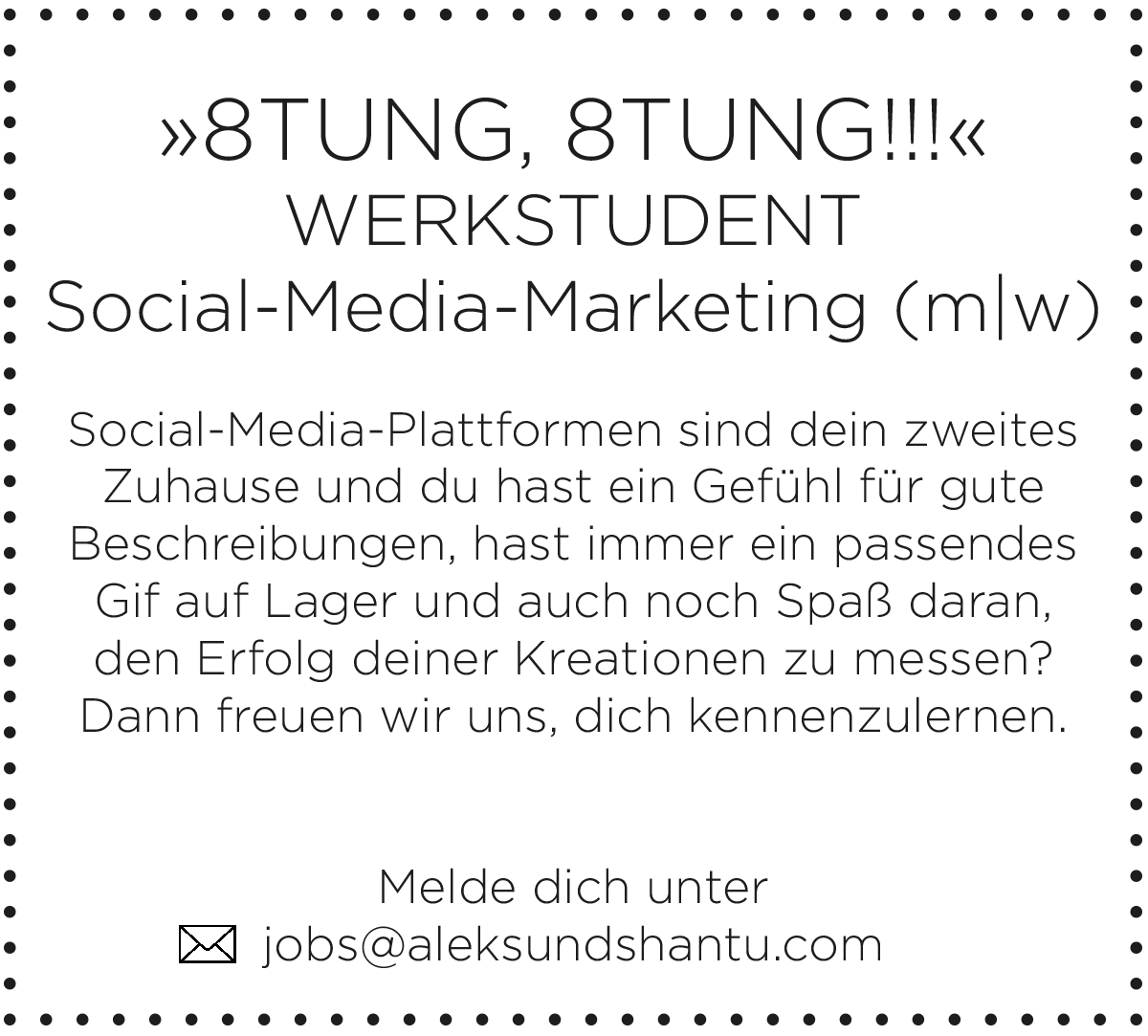 Jobbeschreibung/Anzeige Werkstudent*in Social-Media-Marketing