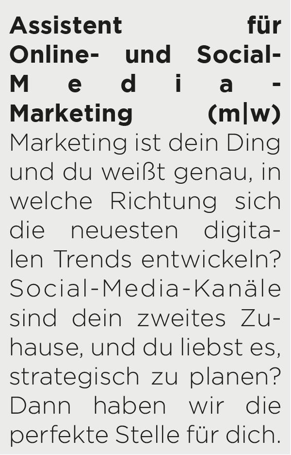 Jobbeschreibung/Anzeige Assistent*in für Online- und Social-Media-Marketing