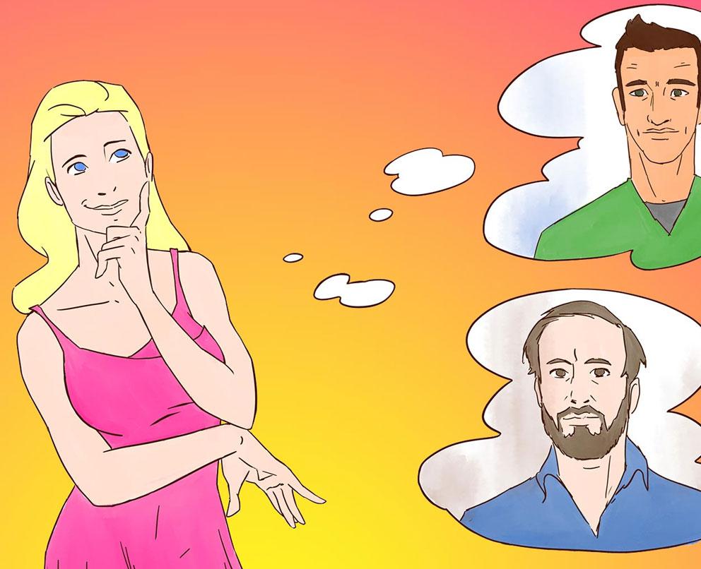 Cartoon Frau denkt mit Verliebten Blick über zwei Männer nach