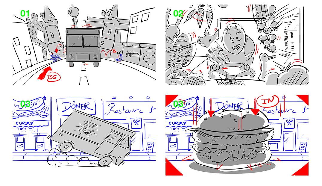 Illustration Comic vier Bilder Transporter Lebensmittel