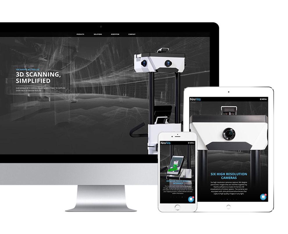 ansicht navvis webseite auf desktop tablet smartphone mobil