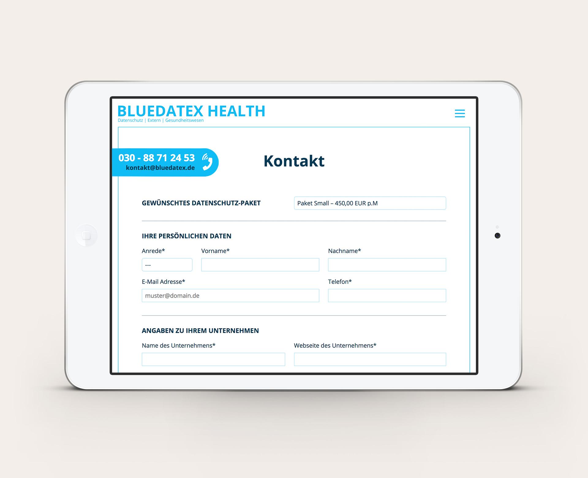 Bluedatex Health Kontakt Anfrage per IPad