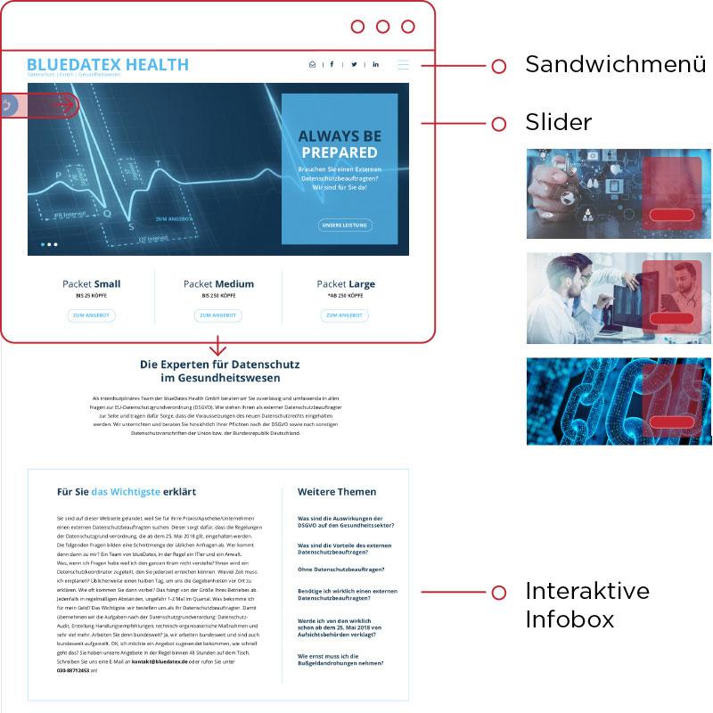 Bluedatex Health website Erklärung und Aufbau