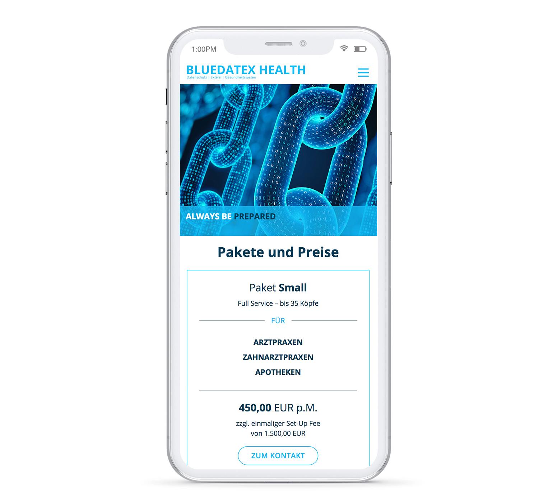 Bluedatex Health iPhone Pakete und Preise