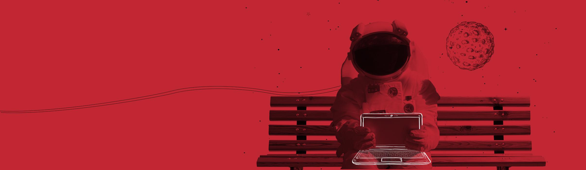 Illustration für den Header Hosting Abbildung eines Astronaut der auf einer Bank sitzt, hinter ihm der Mond auf seinem Schoß ein Laptop. Das Laptop zeigt zum Betrachter.