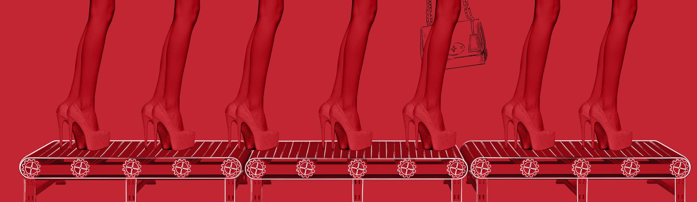 Landingpage Fashionfilm Laufband Frauenbeine Pumps
