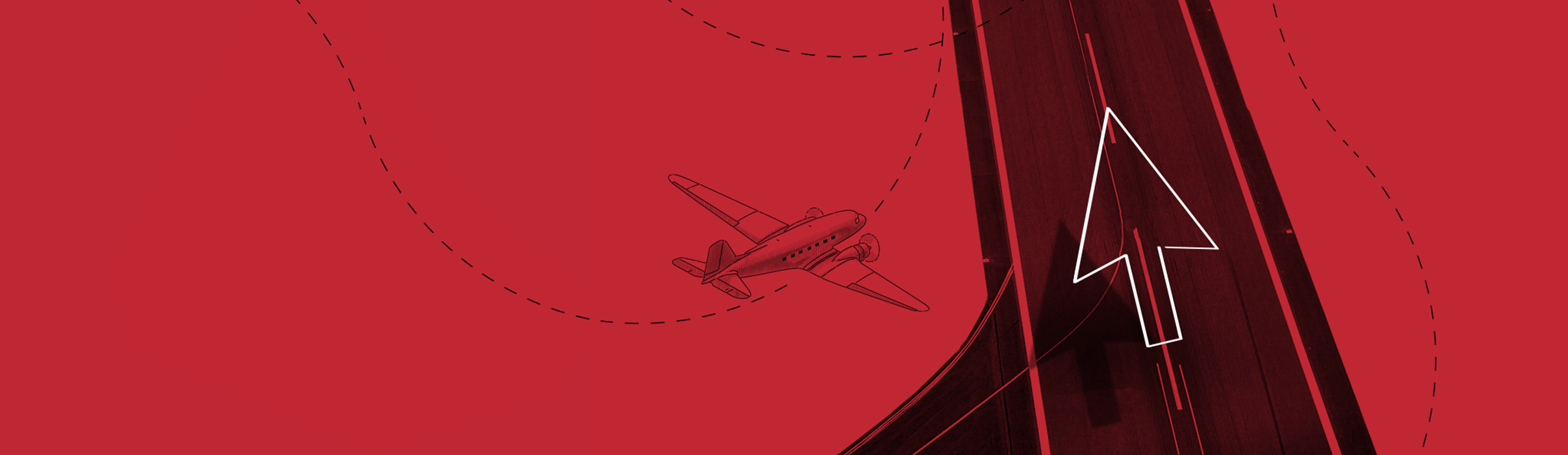 Flugzeug Landebahn Pfeil Landingpage Marketing