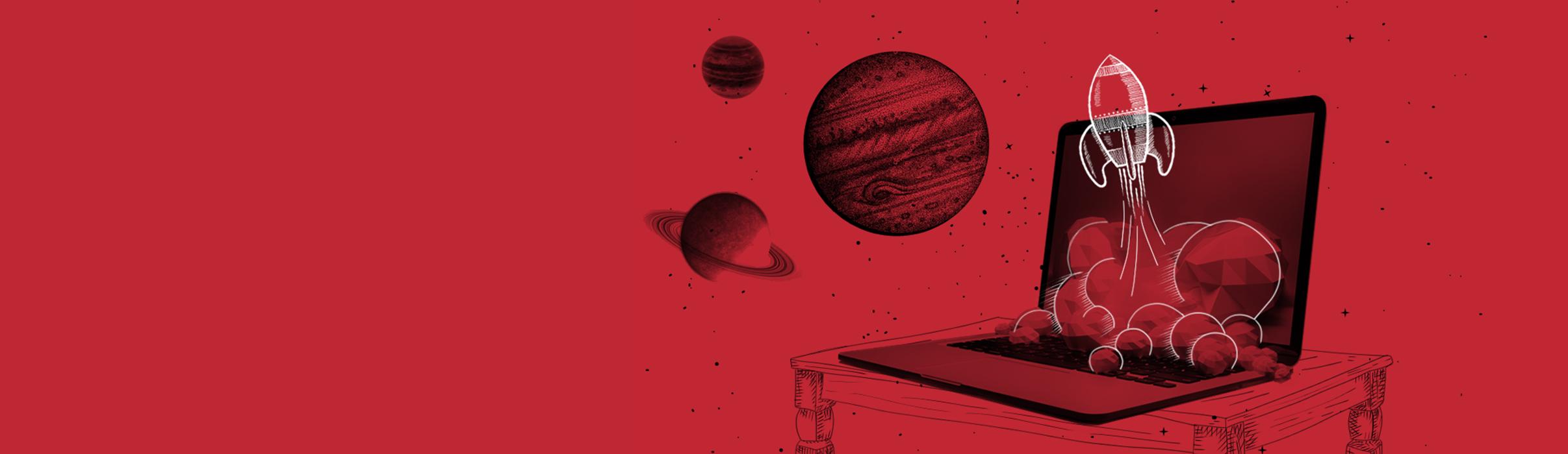Aleksundshantu Titelbild zum Thema Onlinemarketing - Rot Schwarz mit Laptop und aufsteigender Rakete