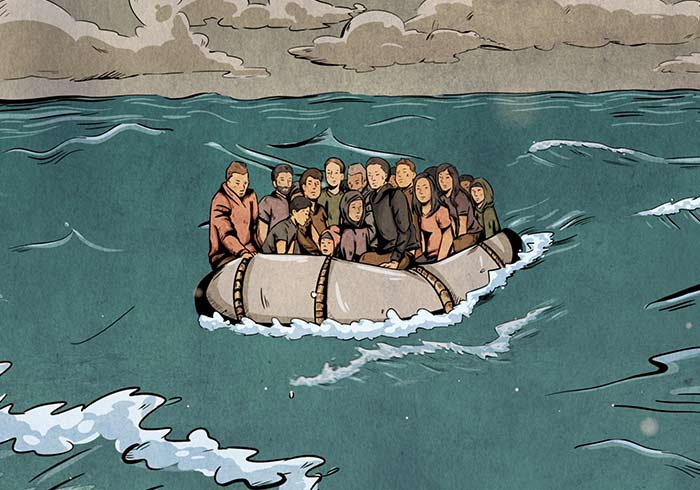 Illustration_und_Animation_ZDF_Aspekte_Yusra_Fluechtlingsboot_ALEKSundSHANTU