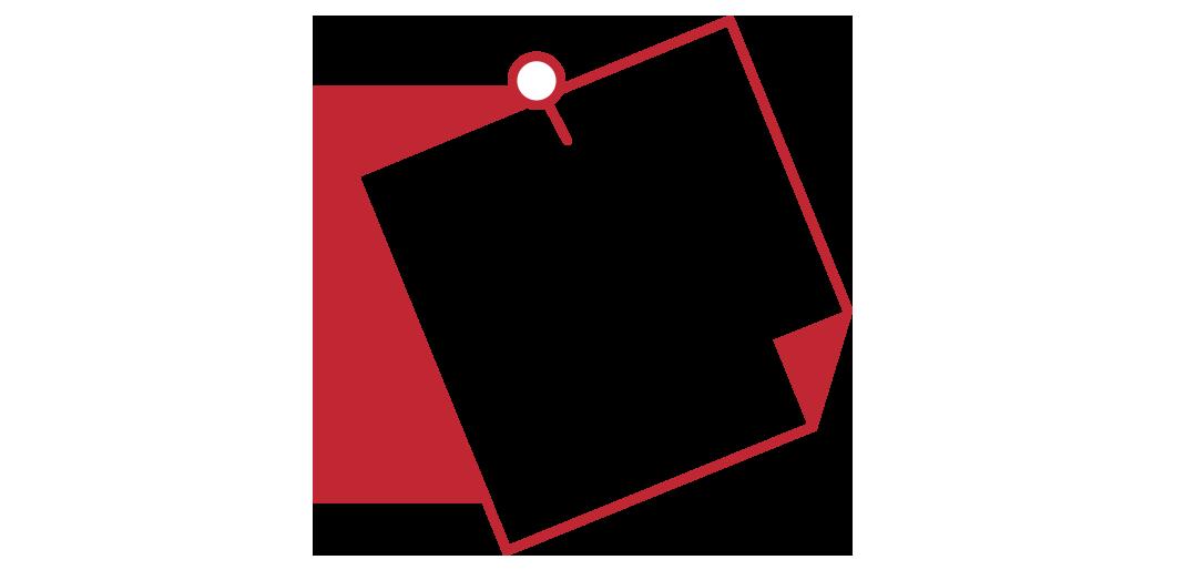 animiertes Icon zusehen Notiz an Pinnwand in rot