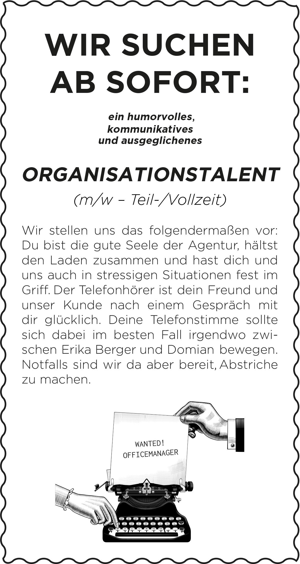 Jobbeschreibung/Anzeige Front-Office-Manager*in